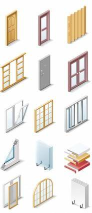 free vector Fine doors and windows icon vector