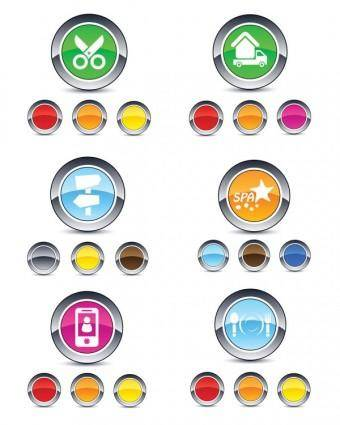 Beautiful glossy round button icon vector web