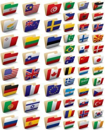 free vector Folder icon 60 national flag vector