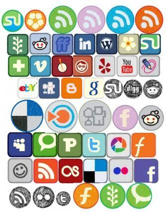 free vector 50 kinds of graffiti cute icon vector