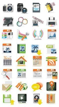 free vector A set of digital tech icon vector
