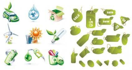 free vector 2 sets of green icon vector