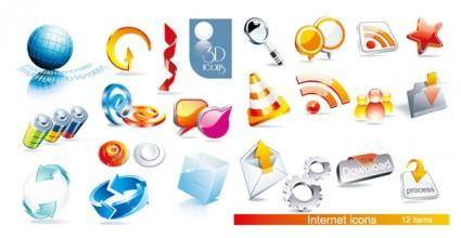 2 sets of beautiful 3d icon vector