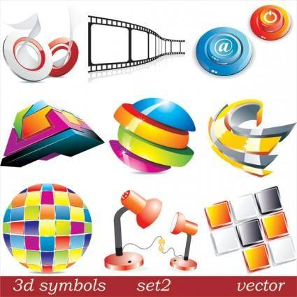 free vector Threedimensional icon vector