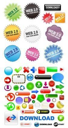 Variety of web20 button icon vector