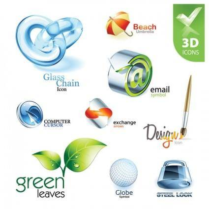 Exquisite collection of threedimensional icon vector 2