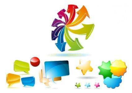 Some commonly used threedimensional web design icon vector