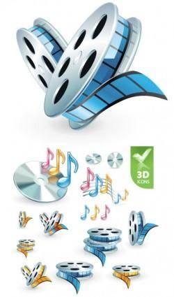 free vector 3d audio video icon vector