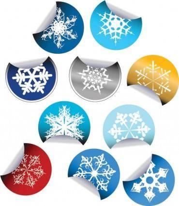 free vector Snowflake stickers icon vector