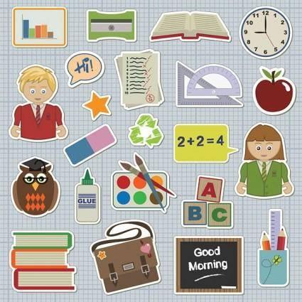 free vector School students theme icon vector