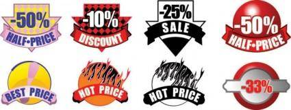 free vector Sale discount decorative icon vector
