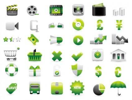 free vector Green shopping website decoration icon vector