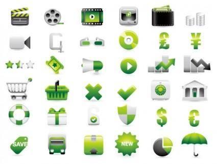 Green shopping website decoration icon vector