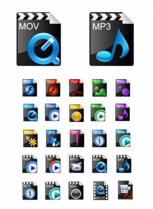Beautiful video formats commonly used icons vector