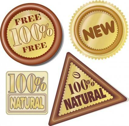 free vector Hundred percent natural icon vector