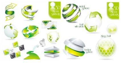 free vector 2 sets of green icon vector dimensional