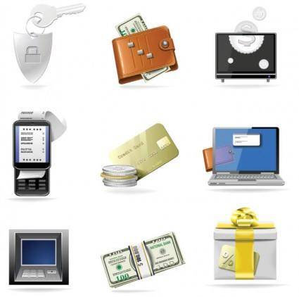 free vector Commercial and financial class icon vector