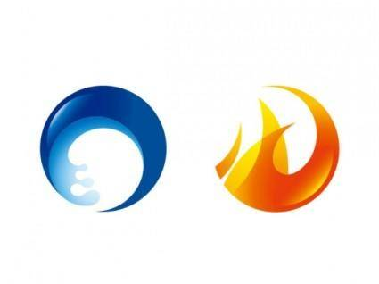 Fire and water circular icon vector