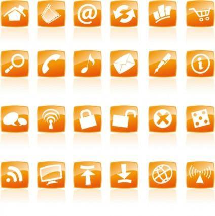 free vector Orange crystal style icon vector commonly used web