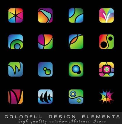 Exquisite colorful icons vector