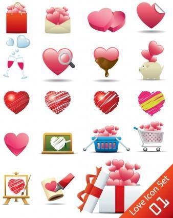 free vector Romantic heartshaped icon 02 vector