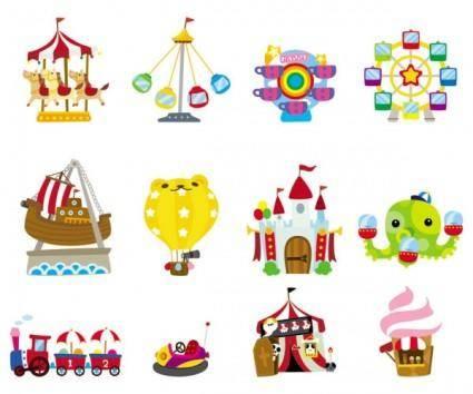 free vector Cute cartoon icon playground 03 vector