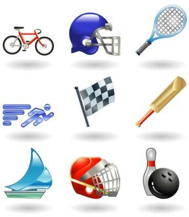 Sportsrelated icons 01 vector