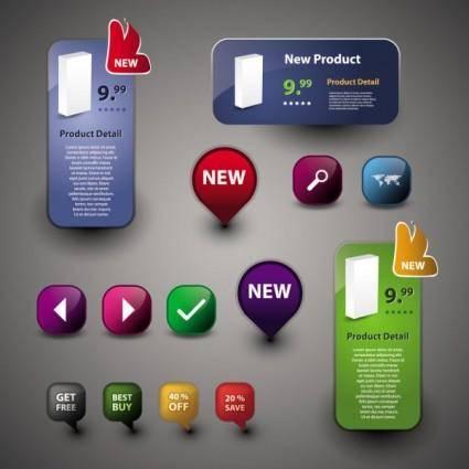 free vector Beautiful icon button 01 vector