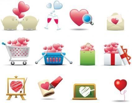 free vector Romantic heartshaped icon 01 vector