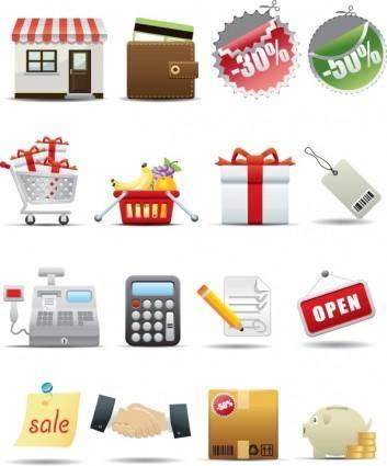 free vector Supermarket shopping icon vector