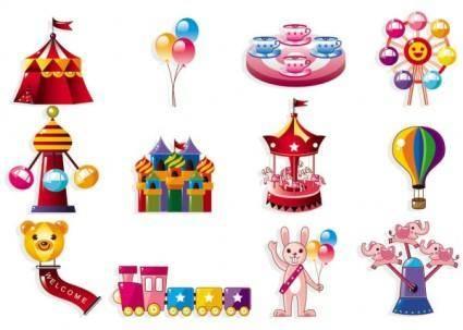 free vector Cute cartoon icon playground 01 vector