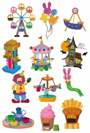 free vector Cute cartoon icon playground 02 vector
