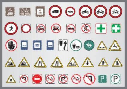 free vector Old traffic signs icon 01 vector