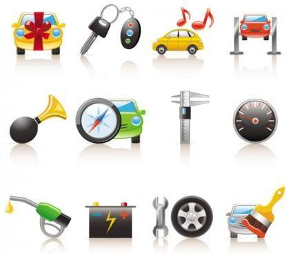 Cartoon car and peripheral products icon vector