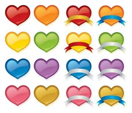 Color crystal heart icon vector