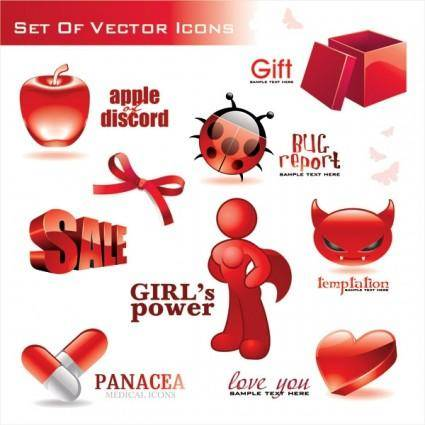 Red threedimensional icon vector