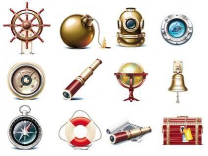 free vector Vector icon of marine tourism marine travel icons