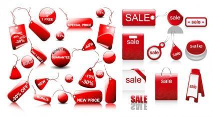 free vector Red icon vector sales discount