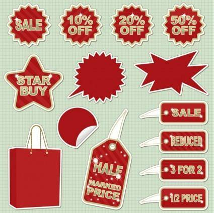 Sticker sales discount theme icon vector