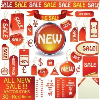 free vector Red icon vector sales