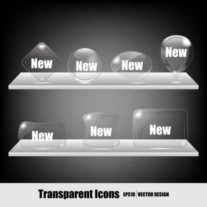 free vector Transparent crystal icons vector
