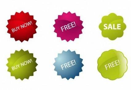 free vector Colorful Vector Sale Stickers