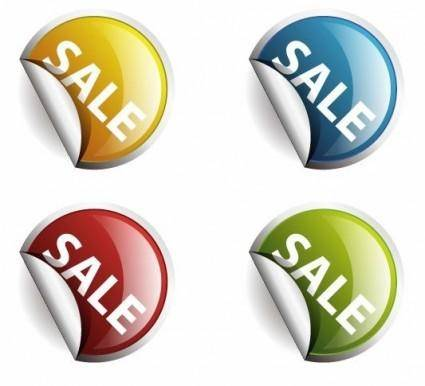 free vector 4 Colors Round Labels or Stickers for Sale