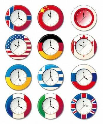 free vector Vector Clock with Different National Flags