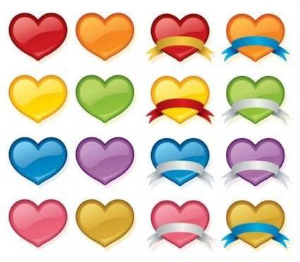 free vector Vector Love Heart Set