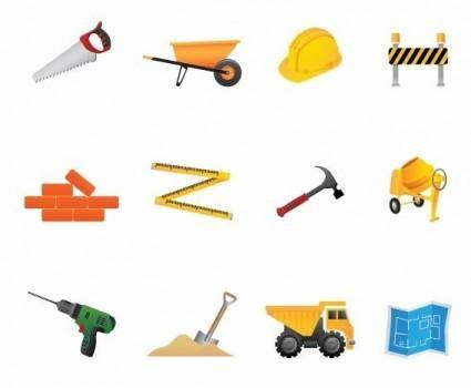 free vector Building and Construction Tools Vector Icon Set
