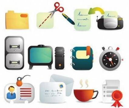 Cute Office Supplies Vector Icons