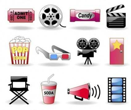 Movie themes and elements vector icon