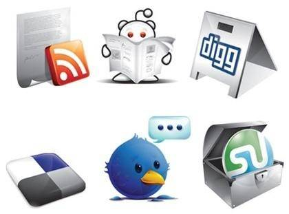 6 Free New Social Icons  Digg, Twitter, Stumble, RSS, Delicious & Reddit