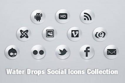 Water Drop Social Icons PSD